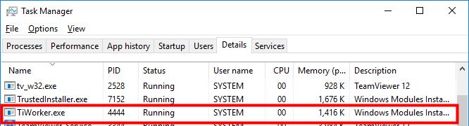 tiworker high disk usage windows 10