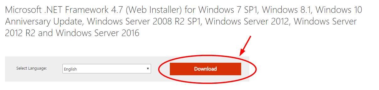net framework web installer 4