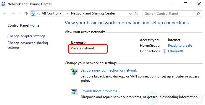 home or public network settings