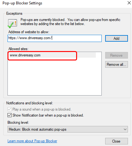 How To Disable Pop Up Blocker In Chrome Firefox Edge And Ie Driver Easy