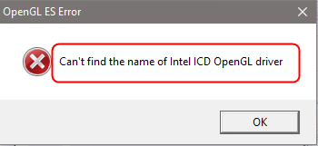 Solved] Can't find the name of Intel ICD OpenGL driver