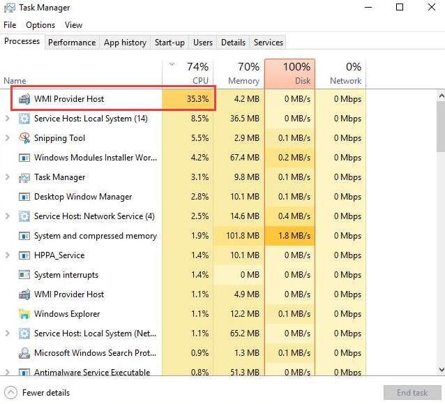 WMI Provider Host: High CPU Usage on Windows 10 [Solved