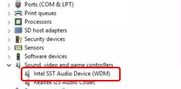 INTEL SST AUDIO CONTROLLER DRIVERS WINDOWS 7