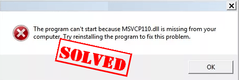 the code execution cannot proceed because msvcr110.dll