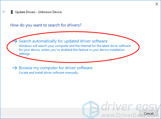 4 Choose Search Automatically For Updated Driver Software