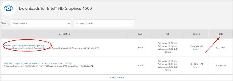 driver intel hd graphics 4600 windows 8