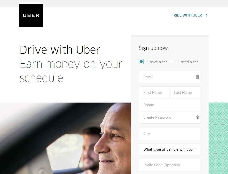 Uber account sign up
