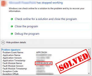 "SOLVED] | ""KernelBase dll"" crash issue 