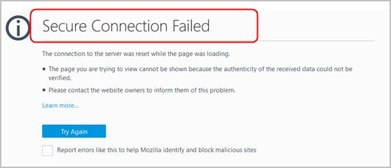 Image result for mozilla secure connection failed