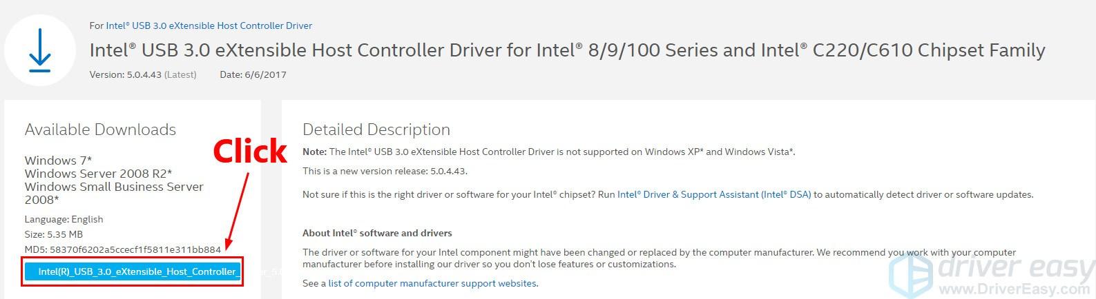 intel® usb 3.0 extensible host controller driver windows xp