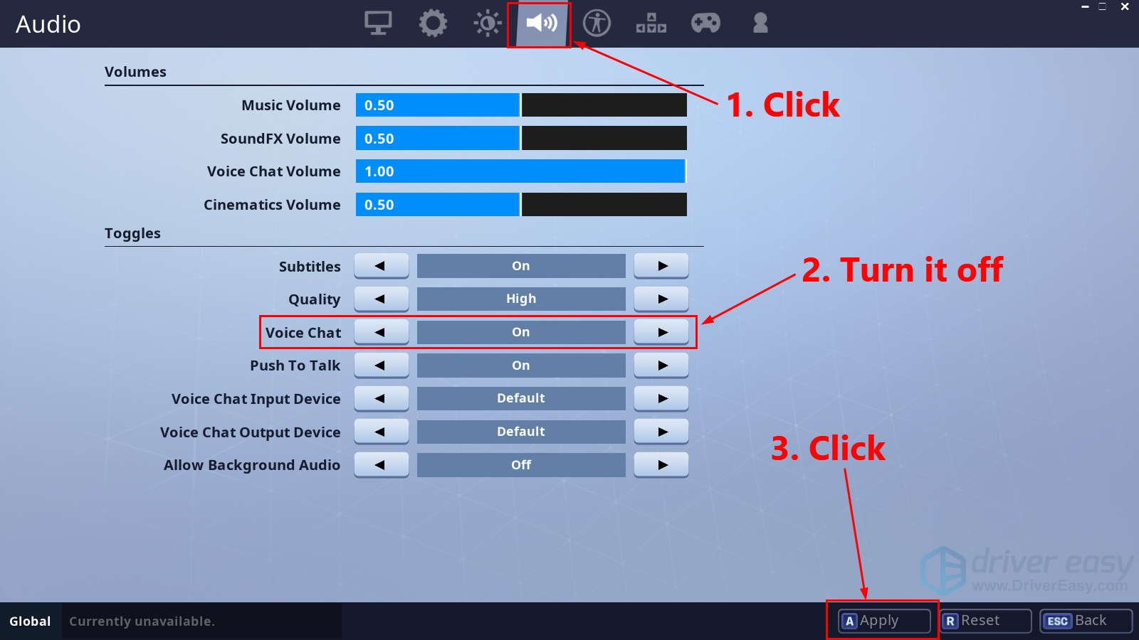 How to fix fortnite voice chat not working with pictures driver easy click the speaker icon to view the audio settings then turn off voice chat and click apply ccuart Images