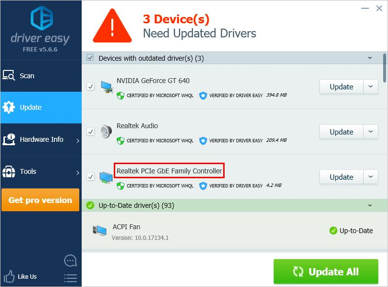 Update Realtek PCIe GBE Family Controller Drivers on Windows