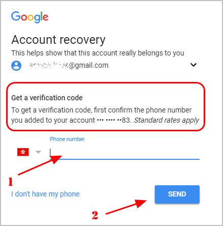 recover gmail using verification code