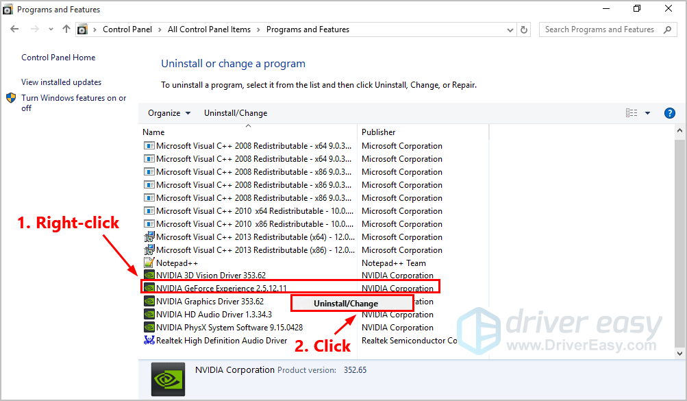 How to uninstall Geforce Experience [Easily] - Driver Easy
