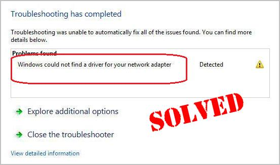 Solved] Windows could not find a driver for your network