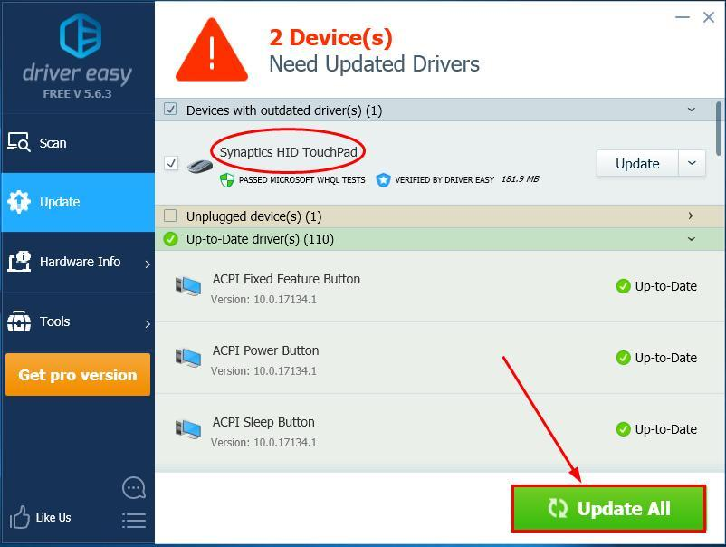 synaptics driver for windows 10 acer