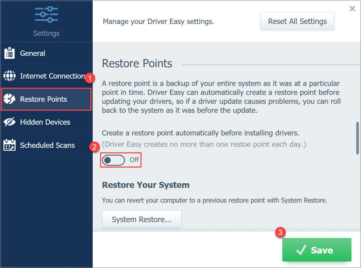 Driver Easy Pro turn off restore points