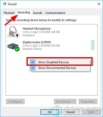 Show disabled Recording Devices
