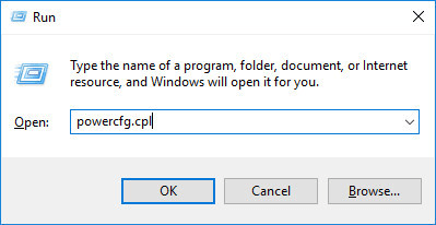 run dialog - powercfg.cpl