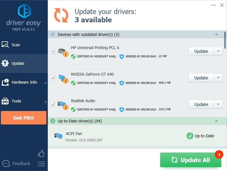 update all drivers with driver easy