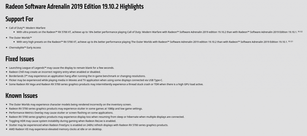AMD graphics card driver update release notes showing a lot of new features.
