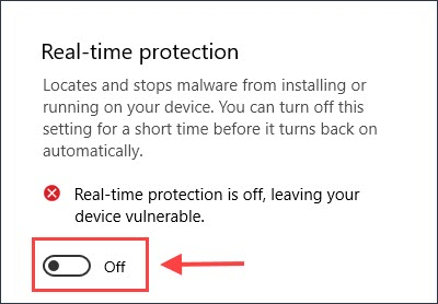 toggle off Real-time protection