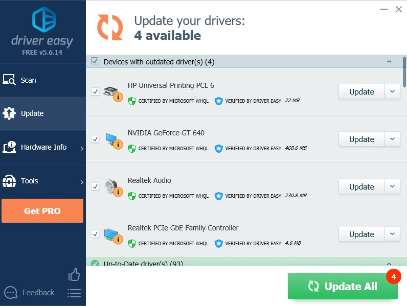 update all of your drivers with Driver Easy