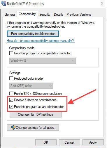 disable full screen optimization
