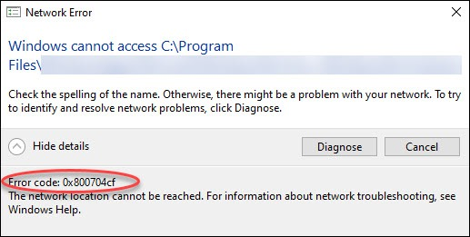 Fix 0x800704cf error when connecting to a network PC