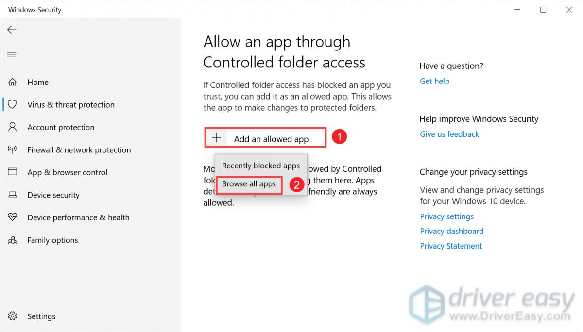 allow  an app through controlled folder access fix Yakuza: Like a Dragon crashing on PC