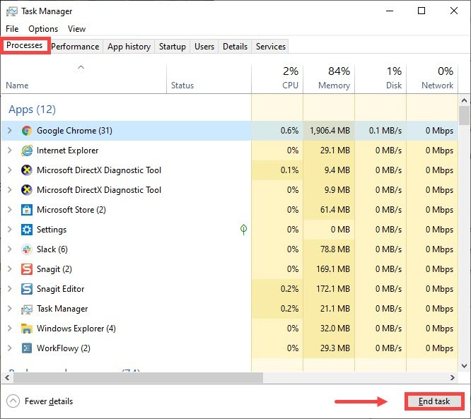 task manager -  close unnecessary programs