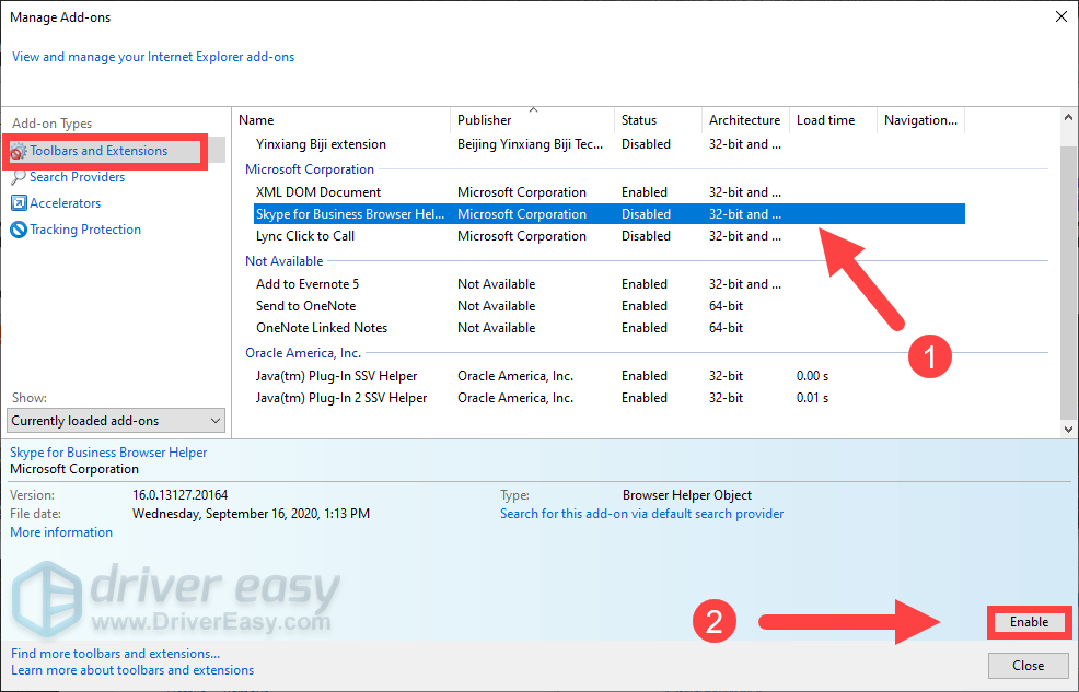 disable extensions in Internet Explorer
