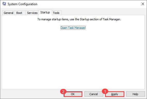 open start up settings