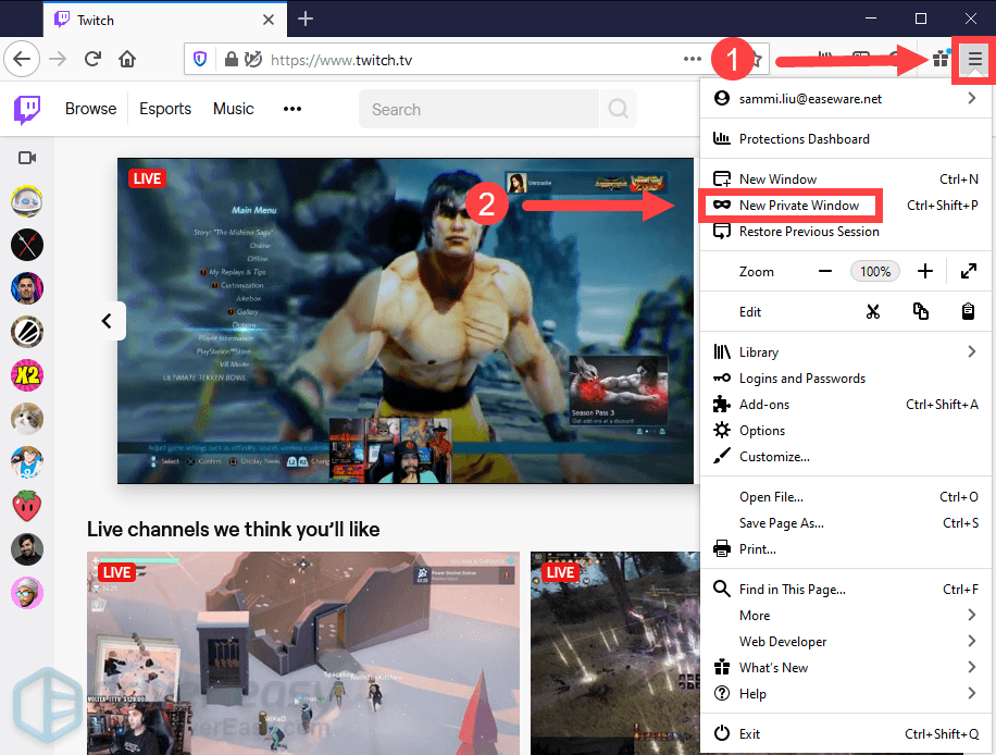use the incognito mode in Firefox Twitch error 4000