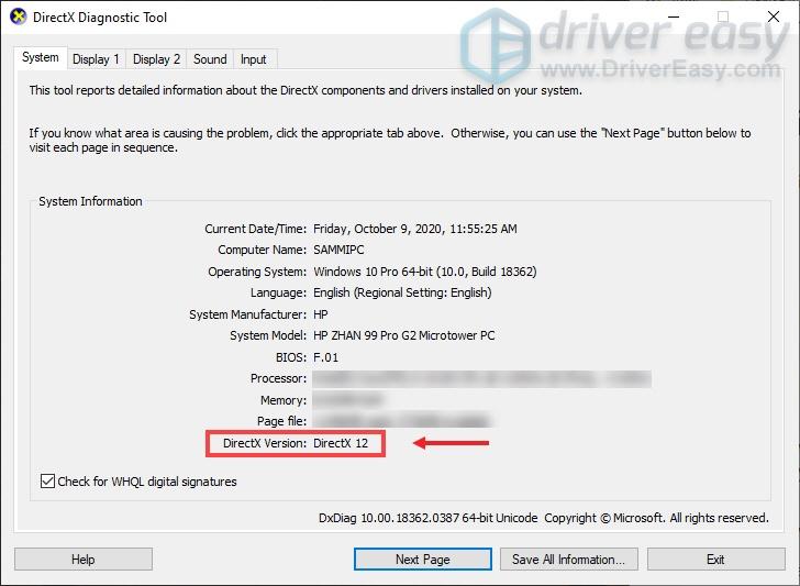 Check DirectX Version