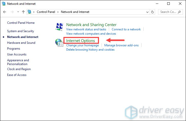 Internet Options Control Panel