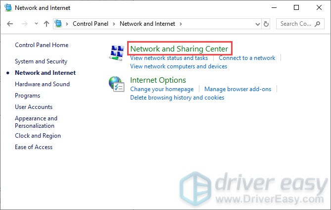 open network and sharing center on Control Panel