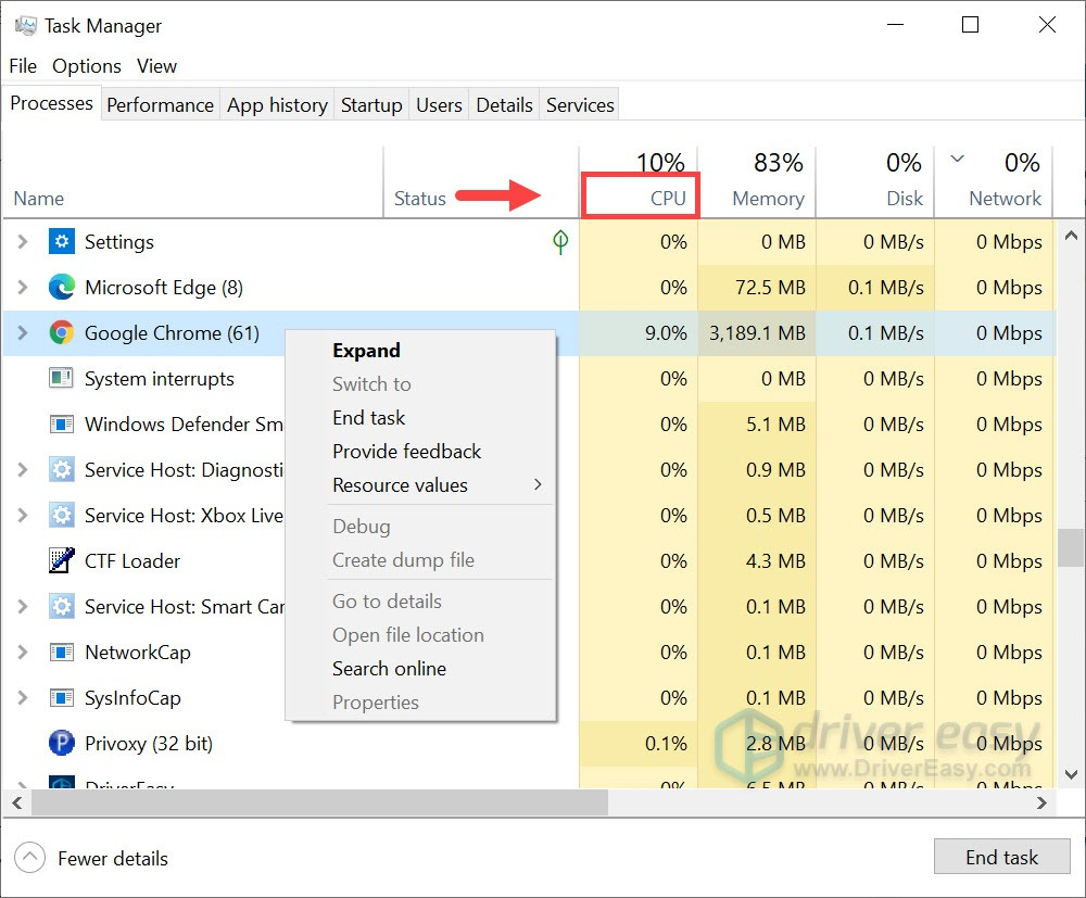 check cpu usage and end the tasks that are using more cpu