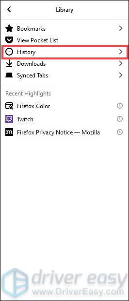 clear history on Firefox