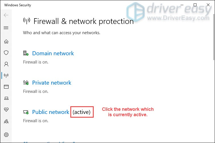 click the network which is currently active