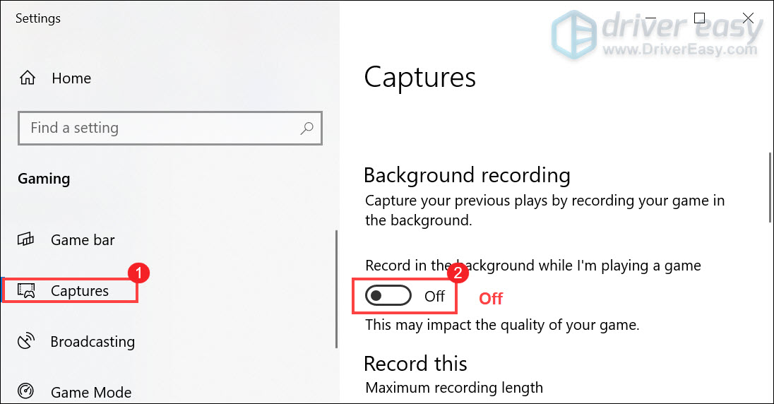 disable background recording