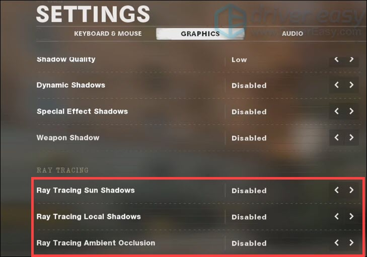 how to disable ray tracing Call of Duty Black Ops Cold War