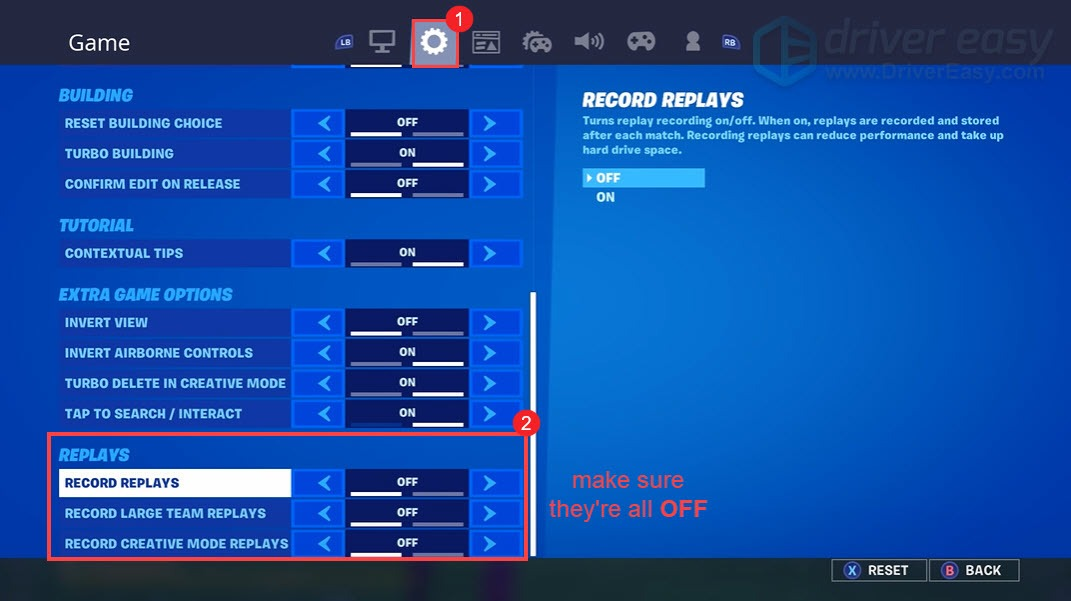 turn off replays settings Fortnite
