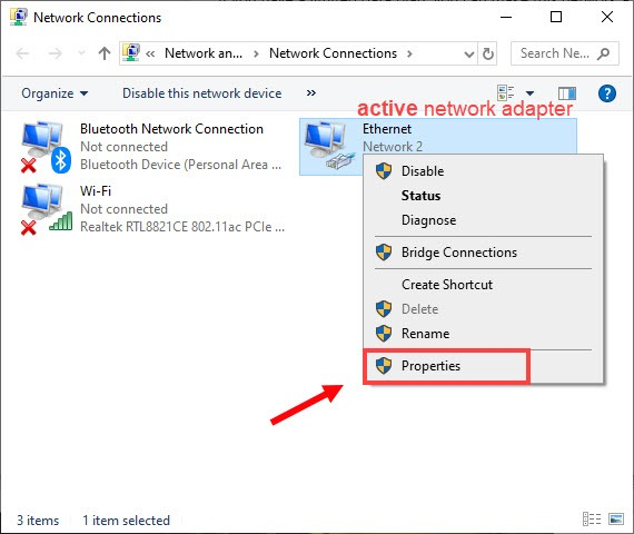 disable IPv6 right-click on the active network adapter