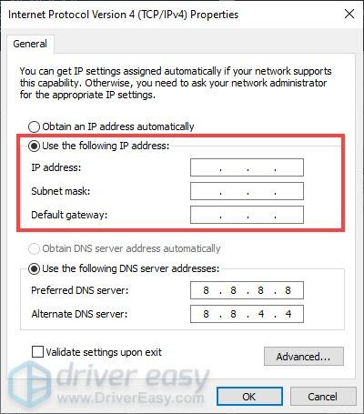 set a static ip address