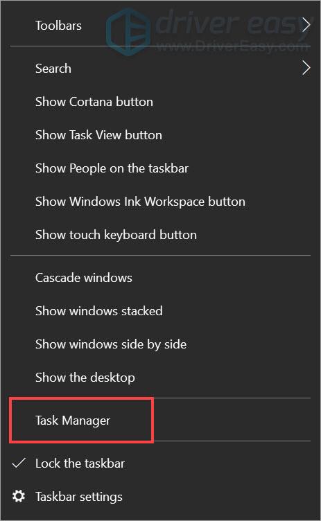 open task manager from the taskbar