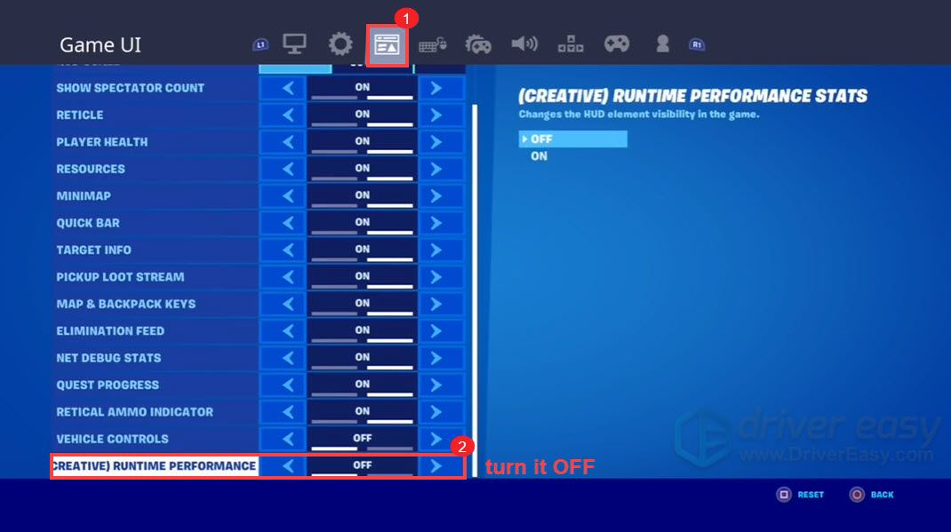 turn off creative runtime performance stats remove Fortnite edit delay Console