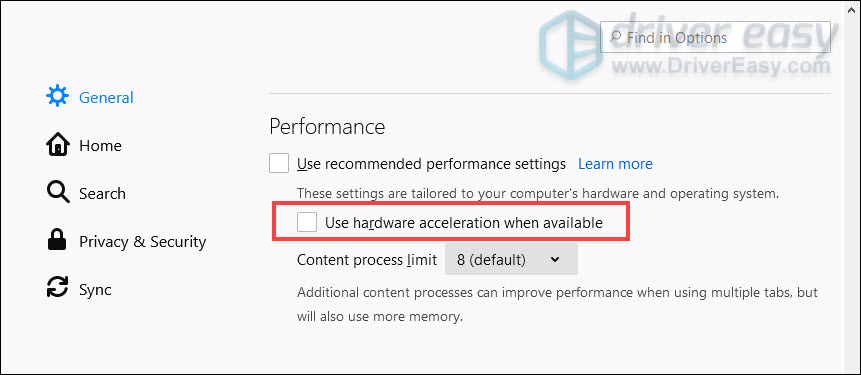 turn off hardware acceleration Firefox freezes