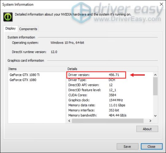 check for system information through NVIDIA Control Panel