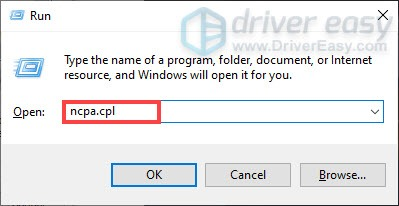 open network connections window to set a static ip address